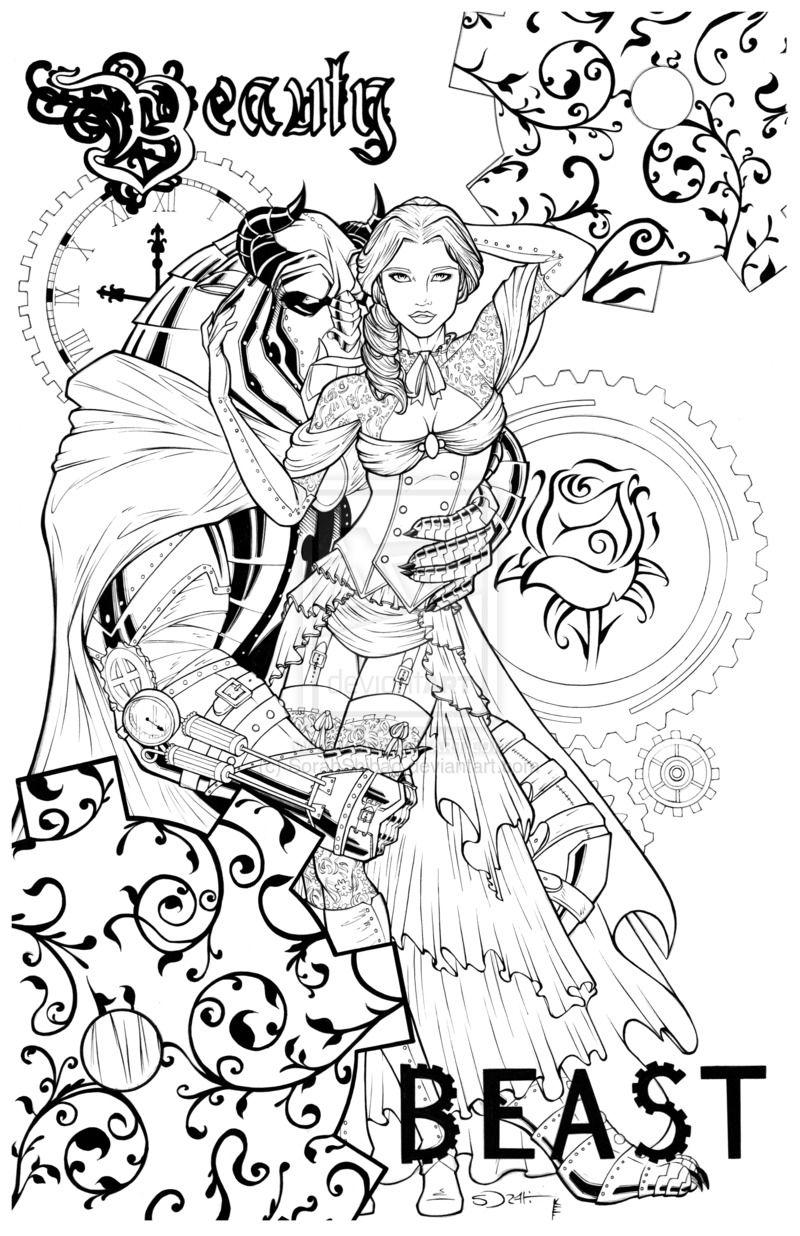 Steampunk Beauty And The Beast By Sorahshibao On Deviantart Kleurplaten Belle En Het Beest Kleurplaten Voor Volwassenen