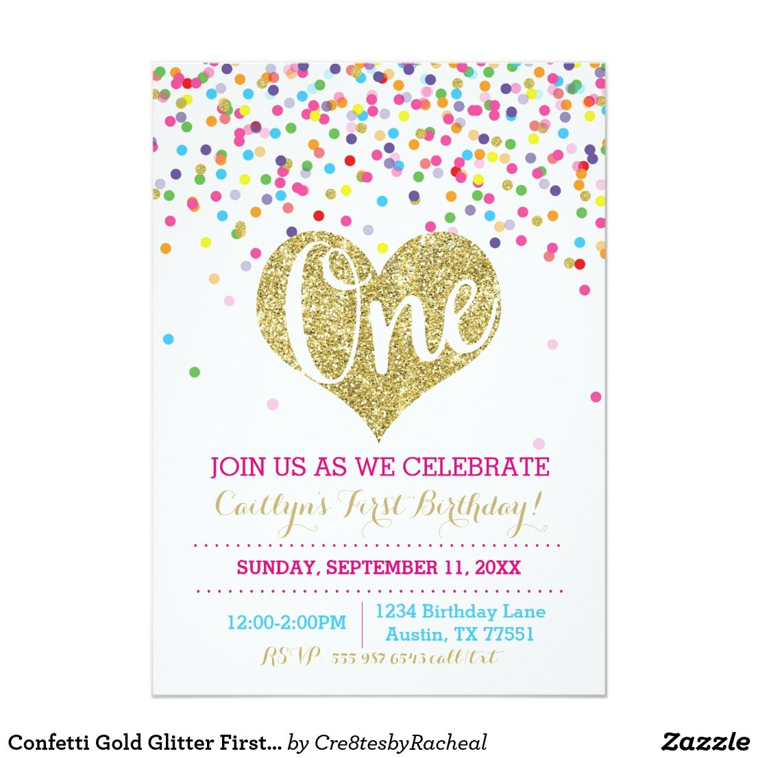 Confetti Gold Glitter First Birthday Invitation | { Happy Birthday ...