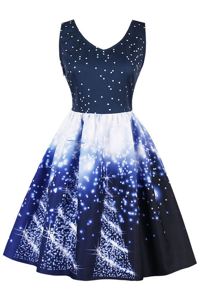 Atomic Dark Blue Christmas Tree Lights Dress #ChristmasDress - Atomic Dark Blue Christmas Tree Lights Dress In 2018 Best Of