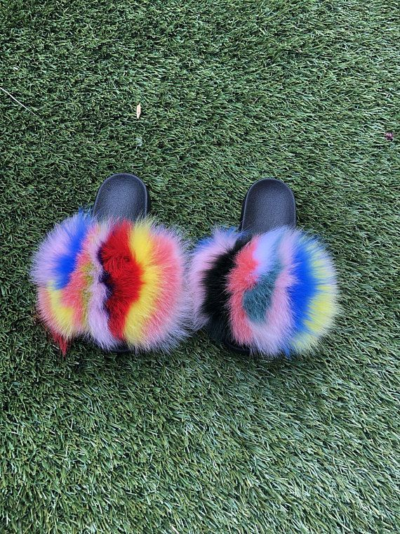 rainbow fur slides fur slides fox fur slides fur slippers
