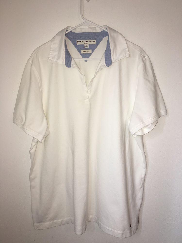 8acb2ca70762b Womens TOMMY HILFIGER White Polo V Neck Tee Shirt 3X Stretch Woman Plus Size   TommyHilfiger