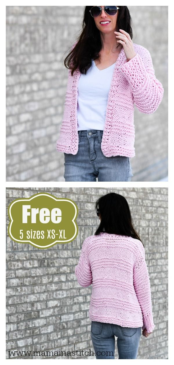 Cotton Candy Beginner Cardigan Free Knitting Pattern ...