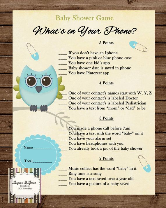 INSTANT UPLOAD Baby Shower Game, Whats In Your Phone. Cute Baby Owl On  Branch