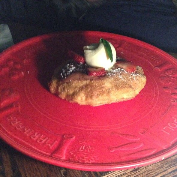 Nutella Bombe @ Criniti's  Cinnamon pastry filled with Nutella, fried and topped with ice cream and strawberries