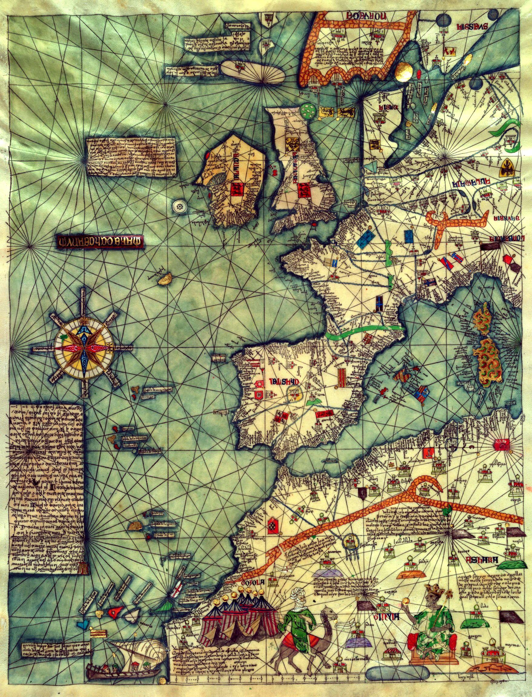 Каталонский атлас, 1375. Постер с картой мира, Карта