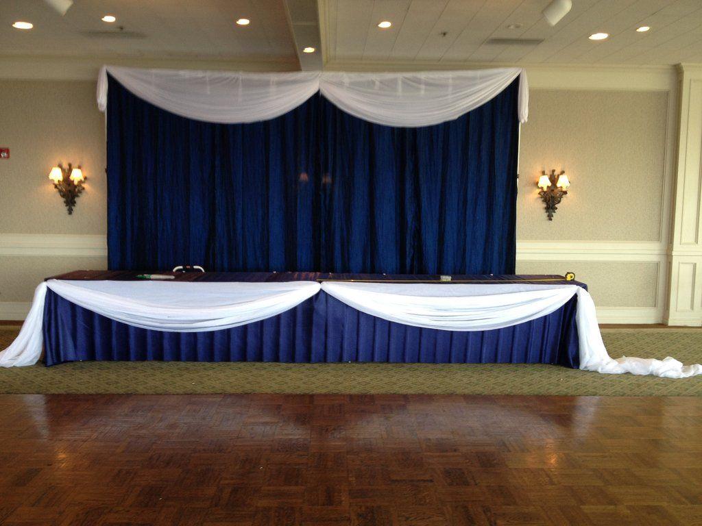 Navy White Backdrop Rental In 2020 Head Table Backdrop Wedding Party Table Backdrop White Backdrop