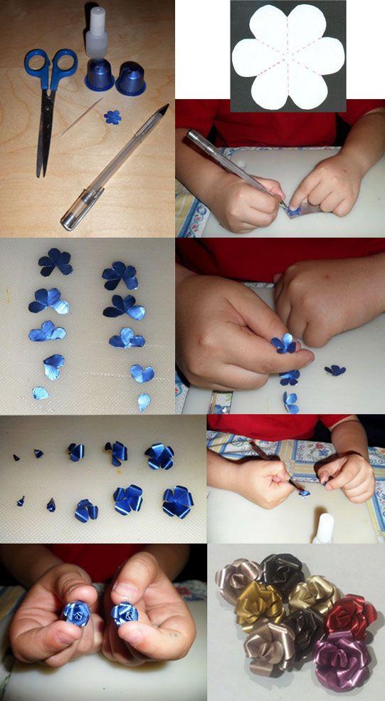 Flores feitas com cápsulas de café - uma forma de reciclagem. (original: http://www.manualidadesinfantiles.org/rosas-con-capsulas-de-nespresso)