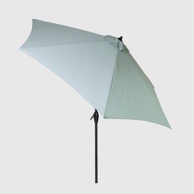 4489d8608387f 9' Round Patio Umbrella Aqua (Blue) - Light Wood Pole - Threshold in ...