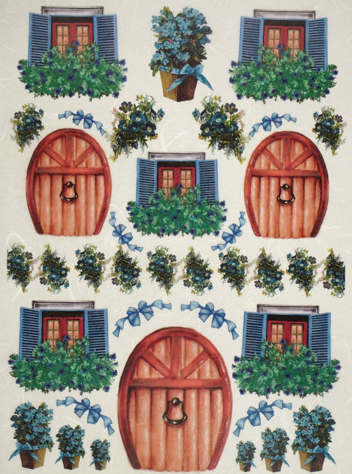 163 1 9 Gbp Rice Paper Door Windows Flower Green For