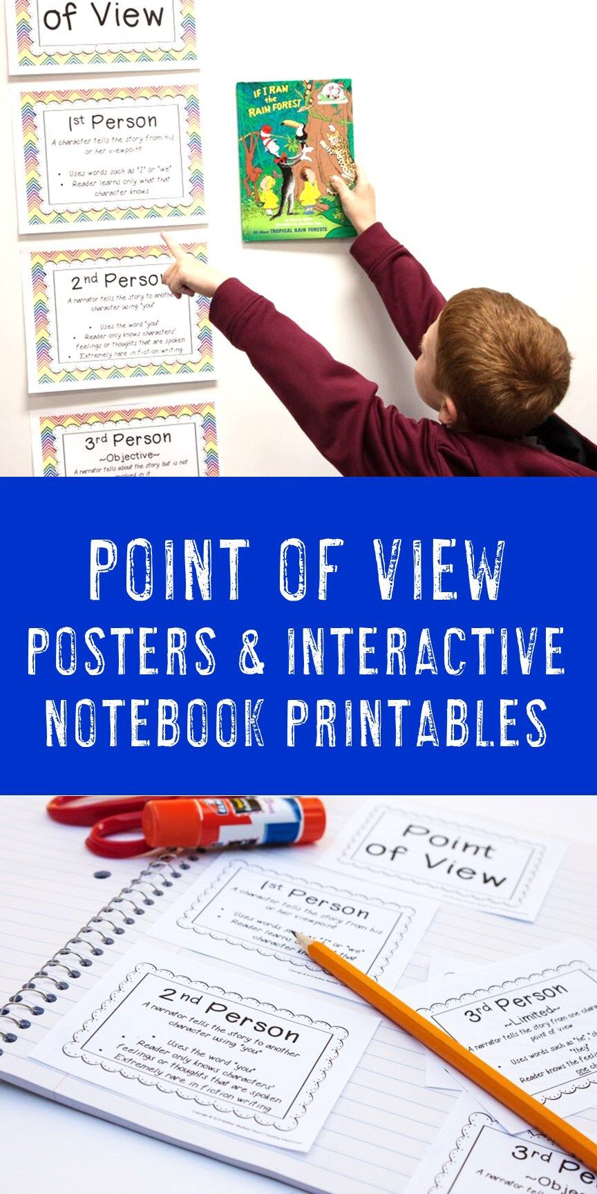 Point Of View Posters 1st 2nd And 3rd Person Hojo S Teaching Interactive Notebooks Kindergarten Kindergarten Addition Worksheets Teaching Adventure Writing strategies goal focusmeaning