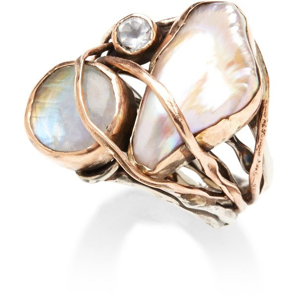 Sandra Dini One Of A Kind 12K Gold Ring With Pearl, Labradorite And... found on Polyvore