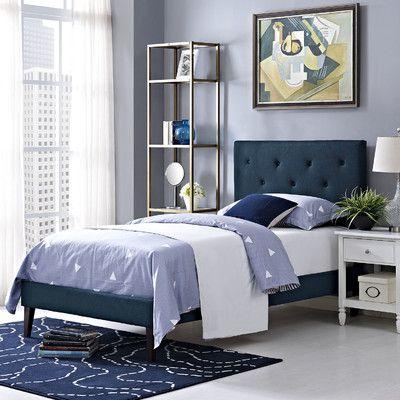 Modway Terisa Upholstered Platform Bed Finish: Azure, Size: Twin