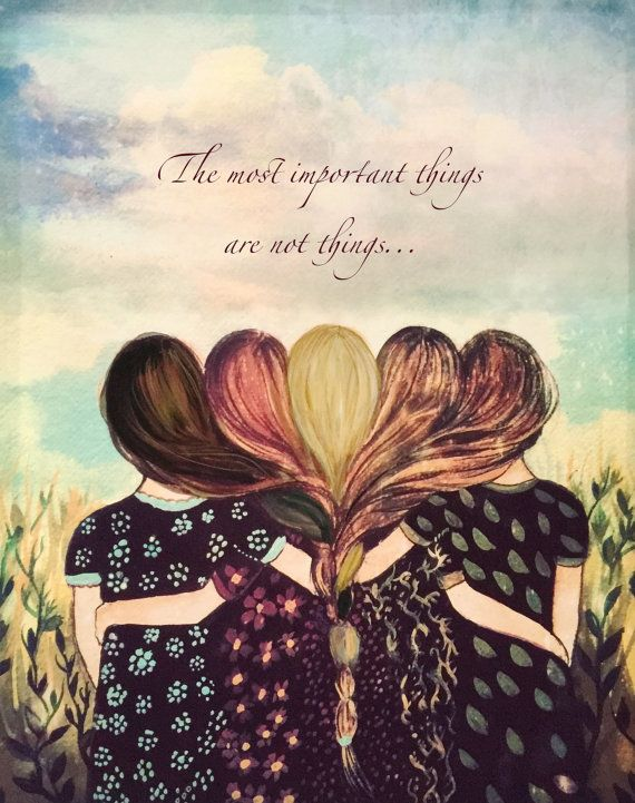 Five sisters best friends with brown and reddish hair art print