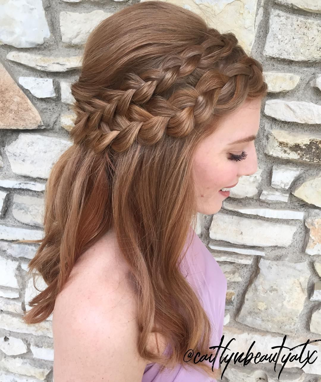 double french dutch braid half up, half down style. perfect