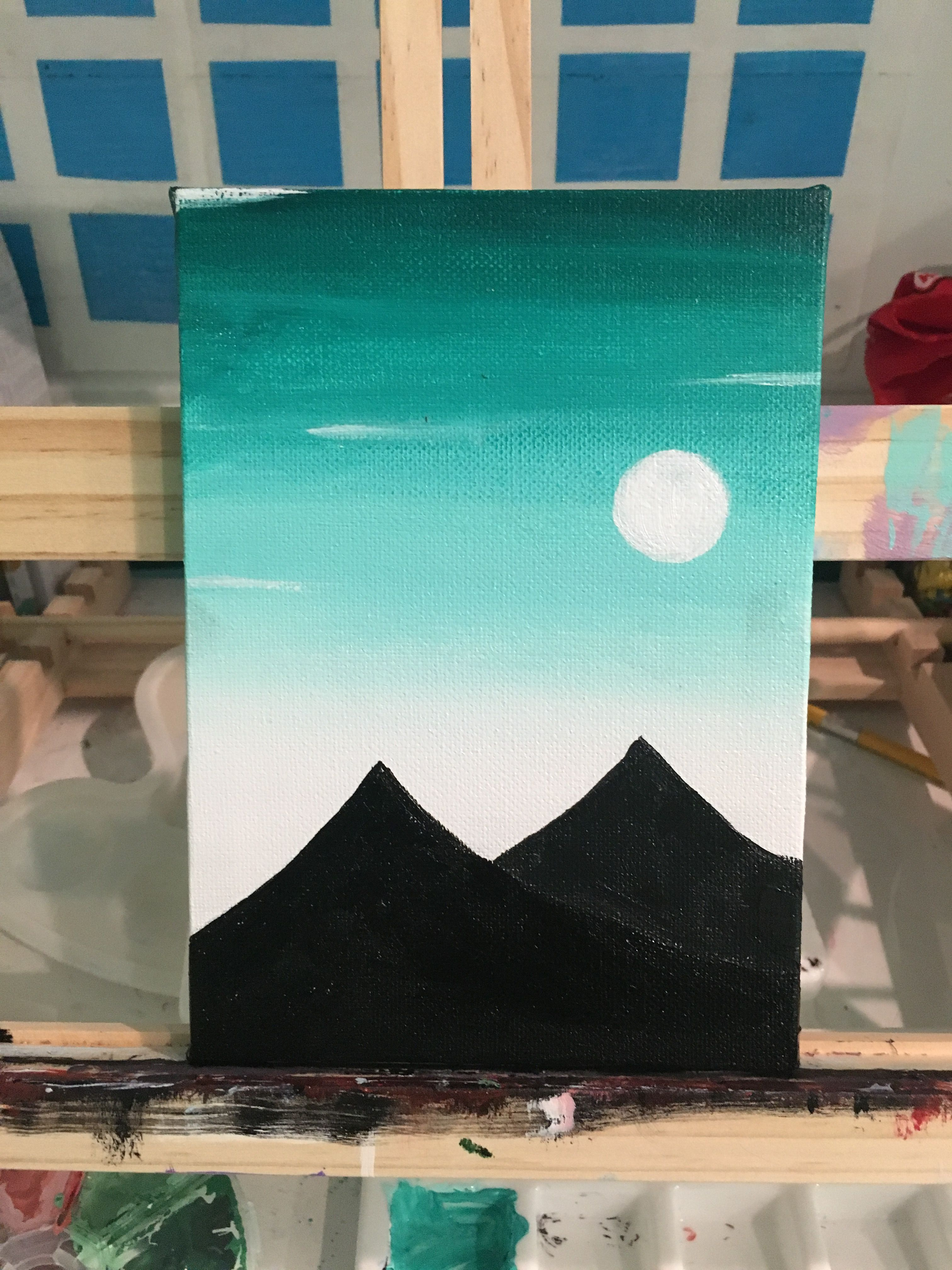 Gloomy Night Over The Mountains Simple Canvas Paintings Art Painting Acrylic Projects