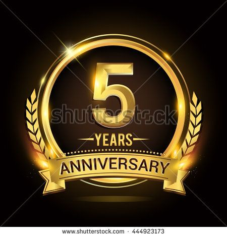 Celebrating 5 Years Anniversary Logo With Golden Ring And Ribbon