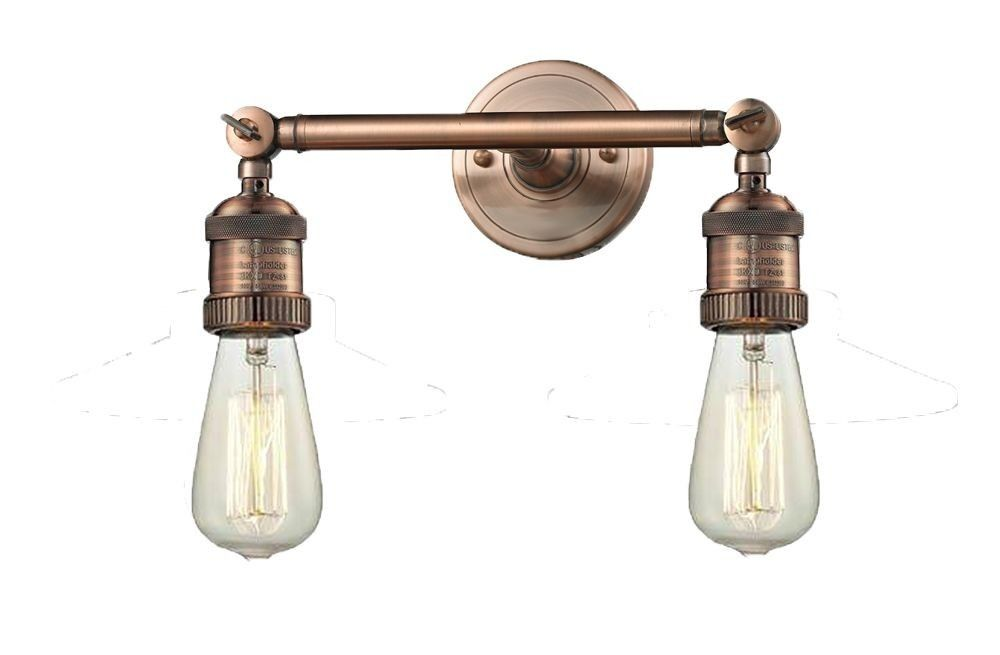 Photo of Two light bare wall lamp antique copper finish