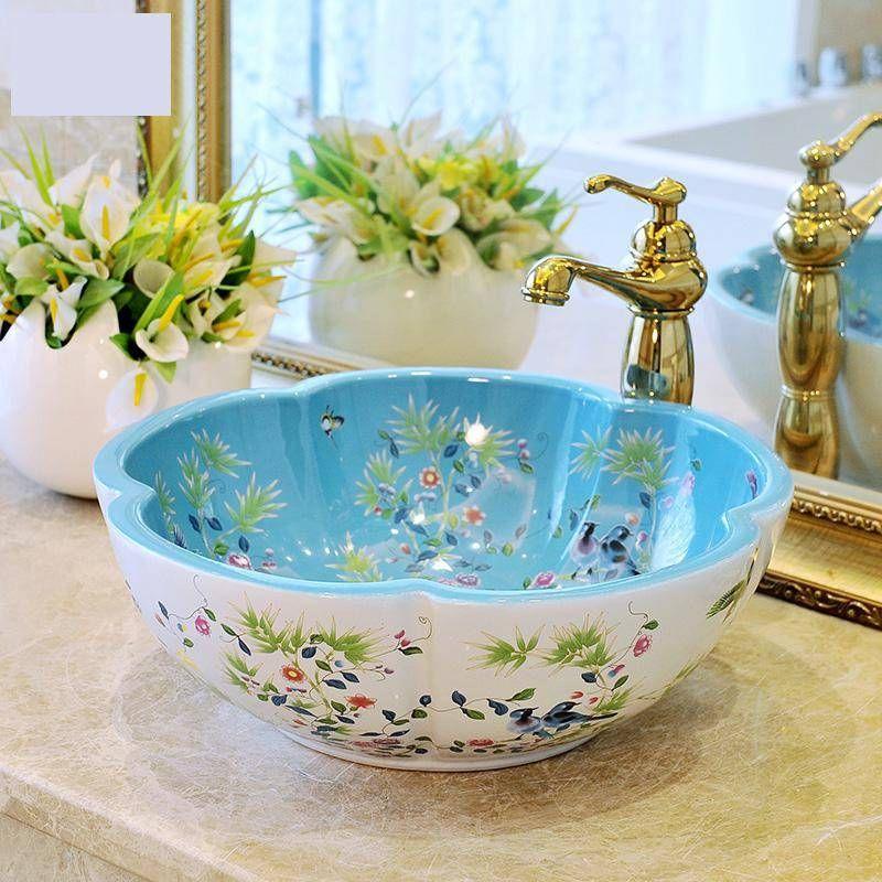 European Style Flower Shaped Art Basin, Patterned Bathroom Sinks