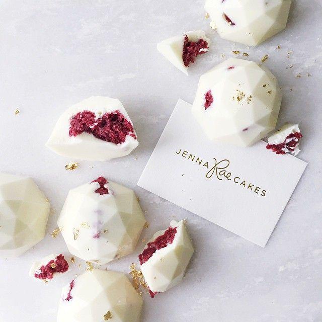 red velvet white chocolate gems