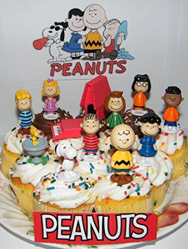 Peanuts Movie Classic Figure Set of 13 Mini Cake Toppers Cupcake