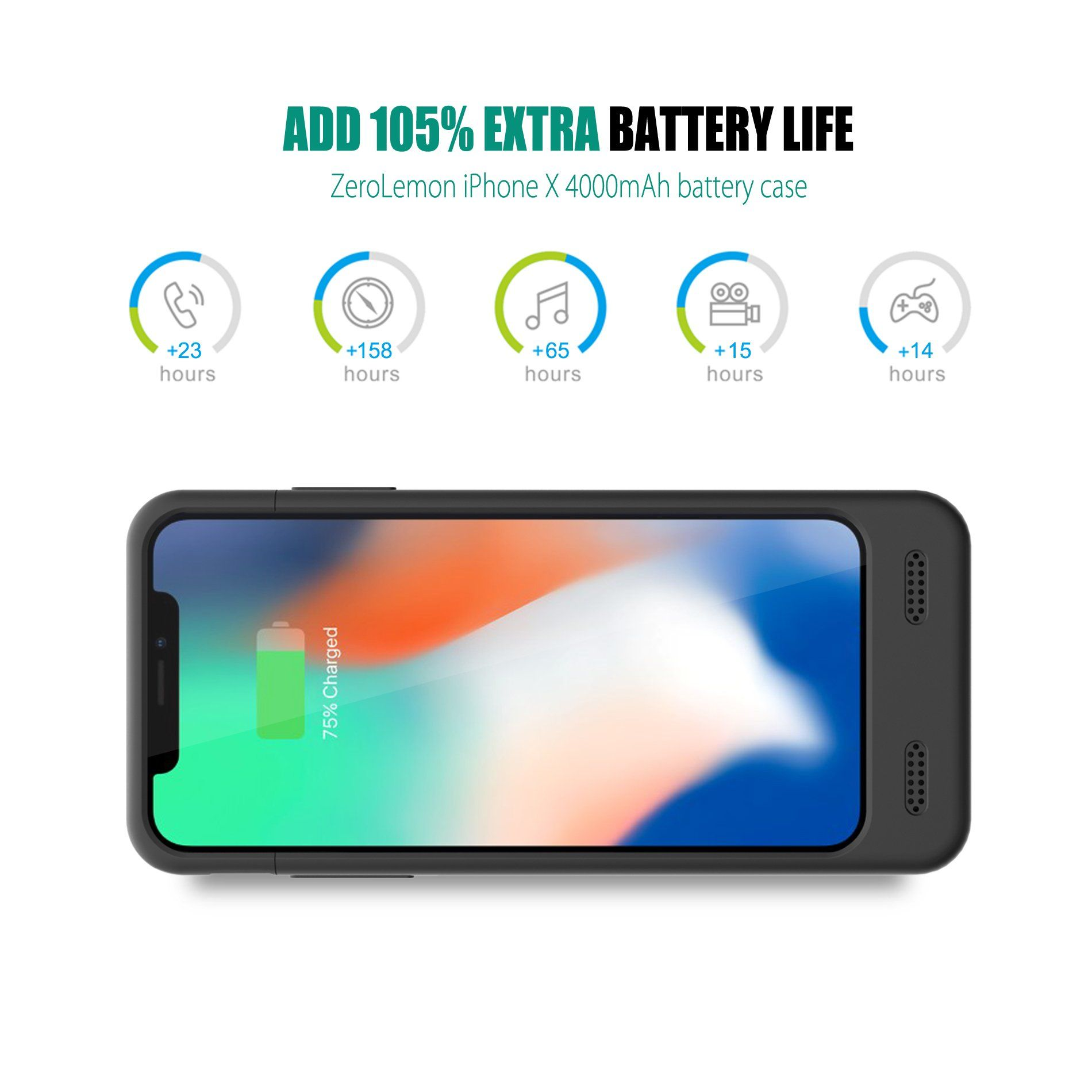sports shoes 77f6c 3868c iPhone X Battery Case with Qi Wireless Charging Supported ZeroLemon ...