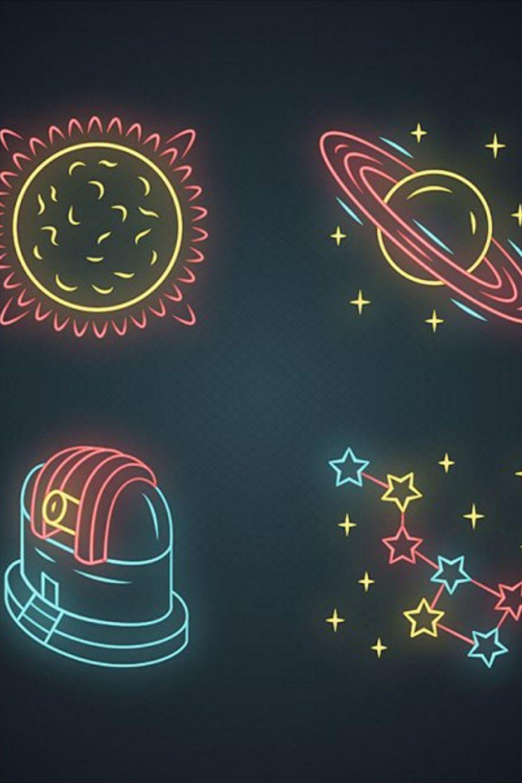 Astronomy neon light icons set. Space exploration. Sun