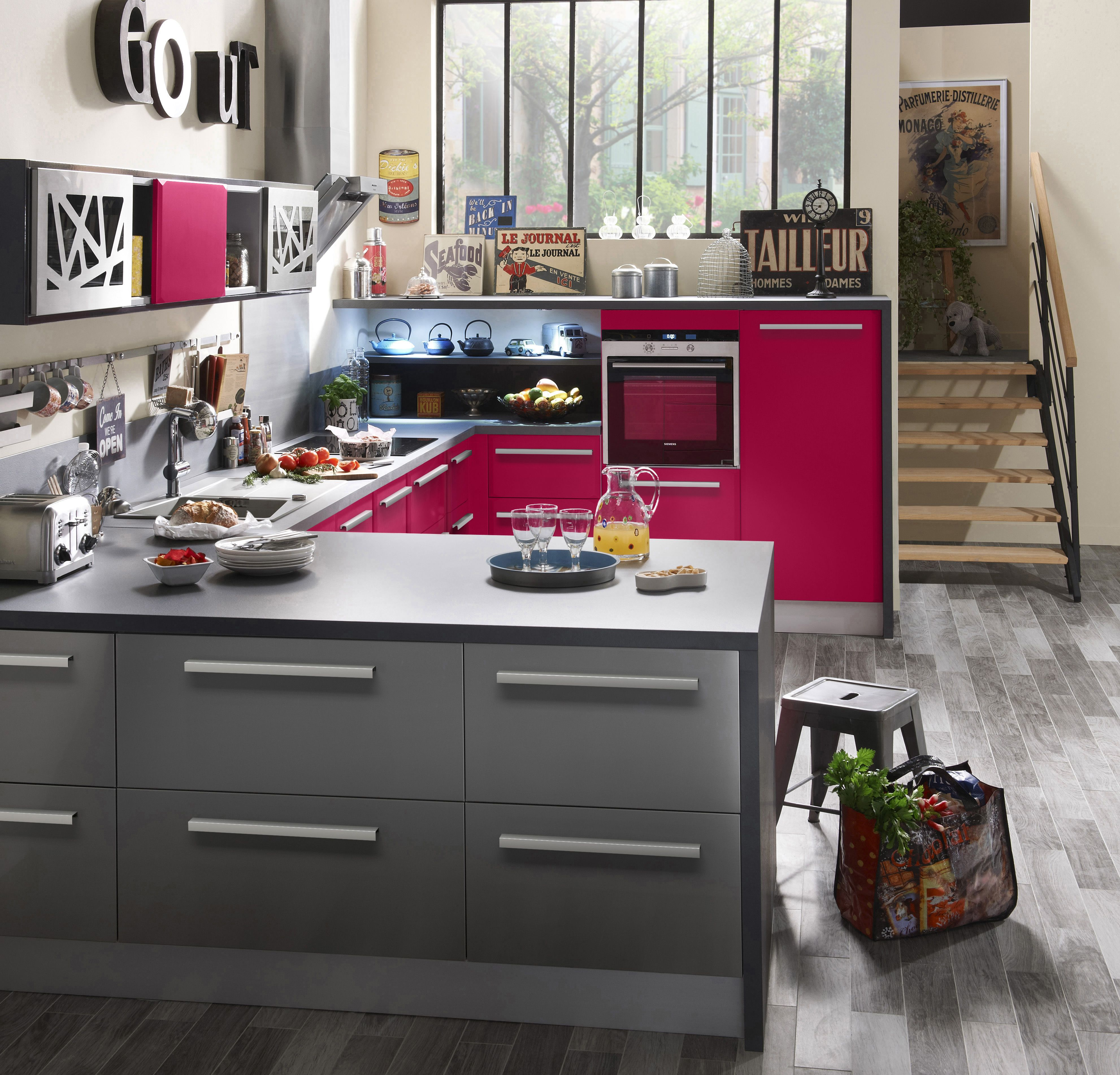Cuisine CARAT - Framboise mat. La collection de meubles de cuisine