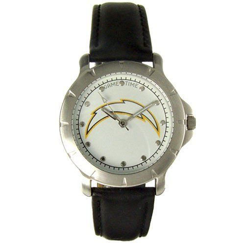 San Diego Chargers Mens Watch Player Series by Game Time. $29.99. Official Team Logo.. Limited lifetime warranty.. Officially licensed by the NFL.. San Diego Chargers Mens Watch Player Series. Game Time. San Diego Chargers Mens Watch Player Series. Features: Official Team Logo -Leather band -Quartz accuracy - Water resistant to 3 ATM - Limited lifetime warranty - Metal case included.. Save 33%!