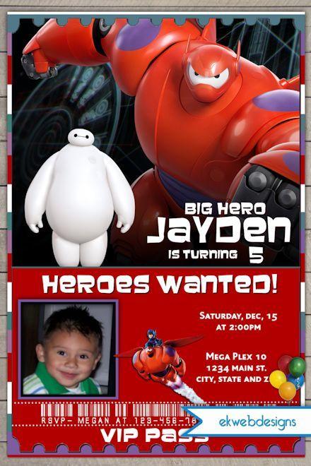 Big Hero 6 Birthday Invitations