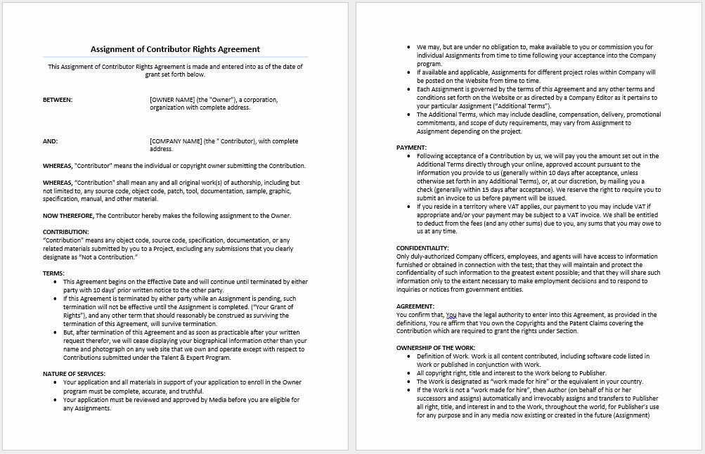 30 Assignment Of Contract Template In 2020 Word Template