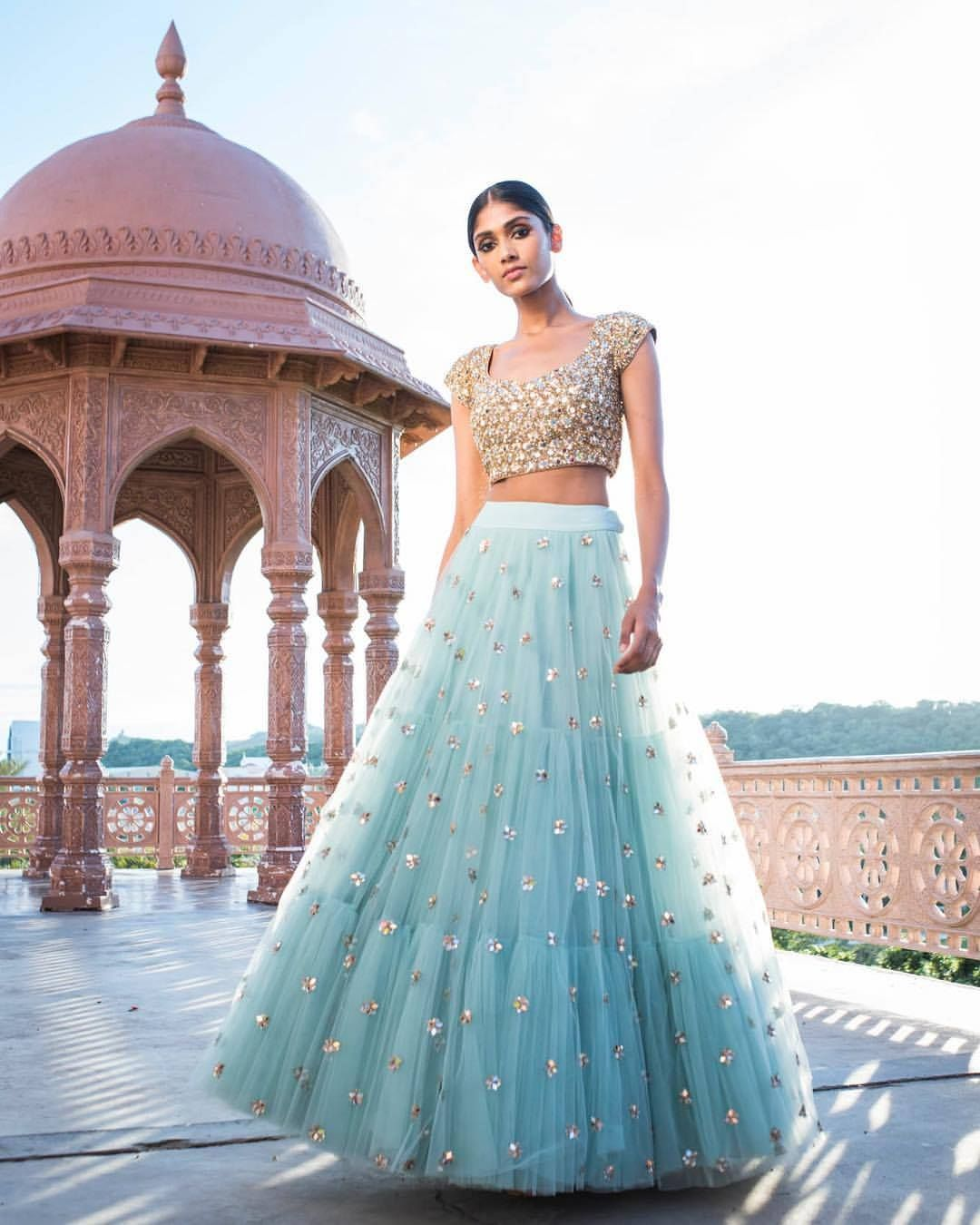 f3f49d314ea931 Beautiful powder blue color designer lehenga and blouse with hand embroidery  thread work. 24 September 2017