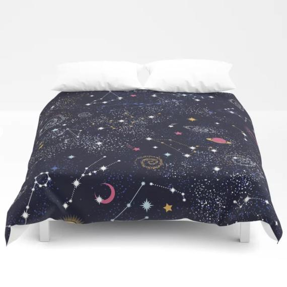 HOROSCOPES CELESTIAL STARS BLACK YELLOW GOLD CONSTELLATIONS BEDDING OR CURTAINS