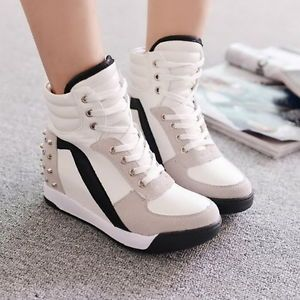 Details about Womens High Top Rivet Girls Casual Trainer Boots Mid ...