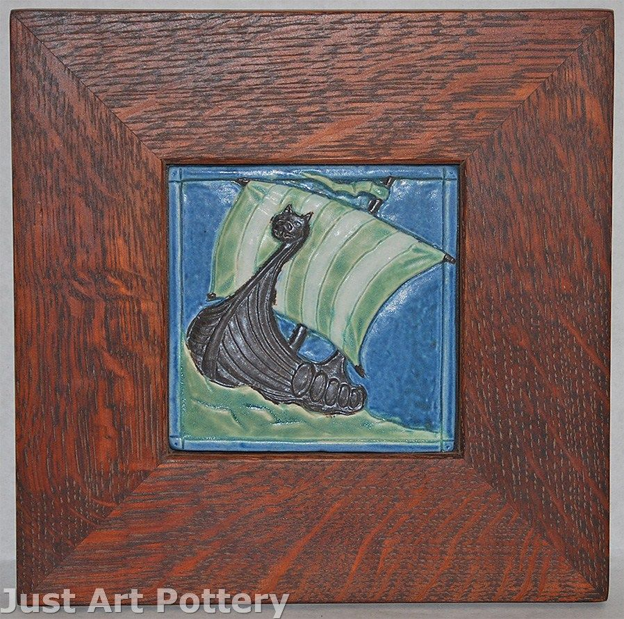Ravenstone Pottery Viking Ship Framed Tile from Just Art Pottery