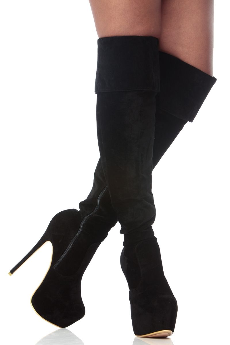 f8ffc797594 Black Faux Suede Fold Over Thigh High Platform Boots @ Cicihot Boots ...