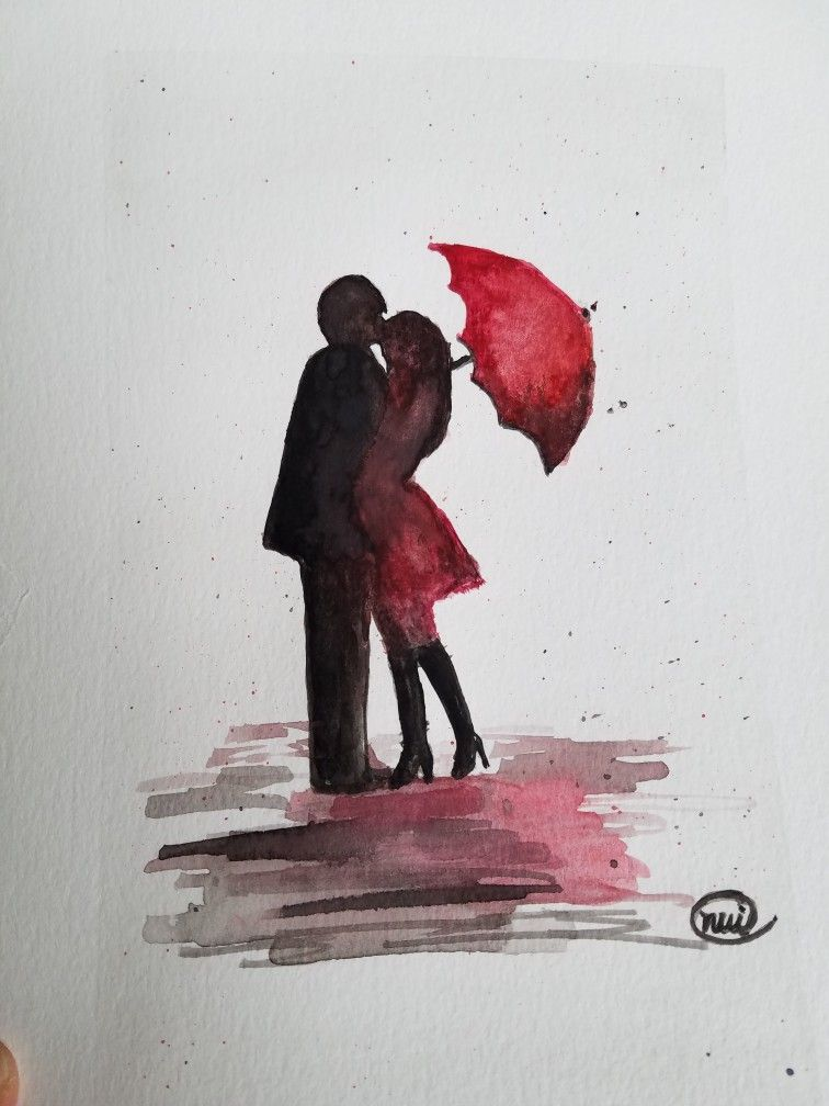 Kissing In The Rain Watercolor Art Kissingintherain Love