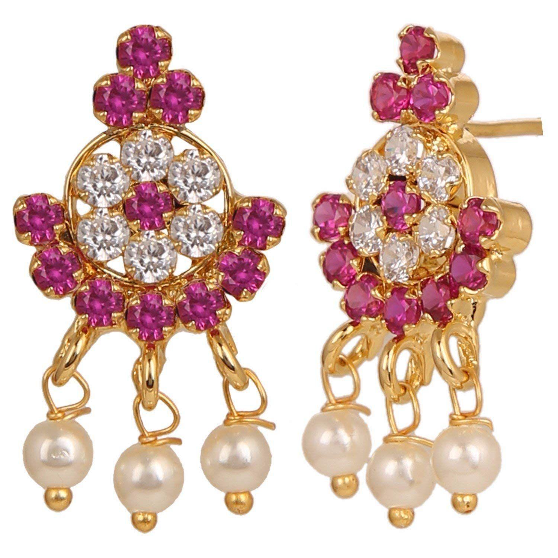 Gold tone indian bollywood ethnic american diamond traditional moti
