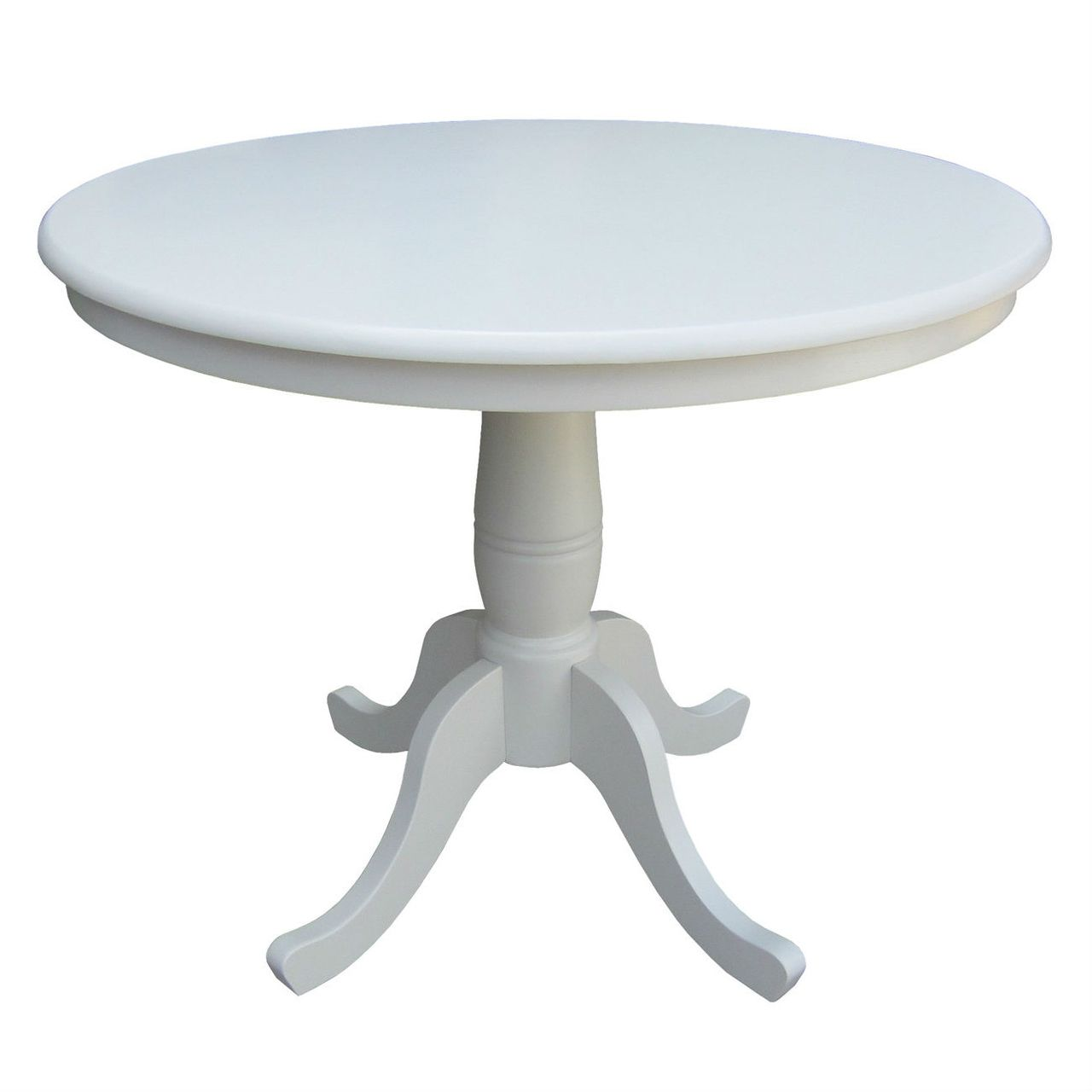 Round 30 Inch Dining Table In White Wood Finish And Pedestal Base Dining Table 36 Round Dining Table Round Pedestal Dining