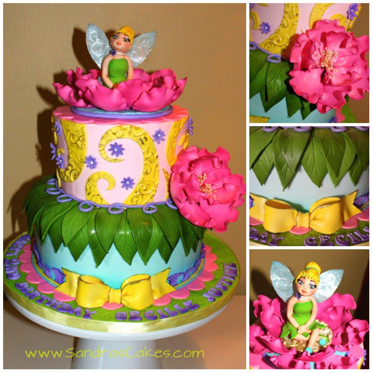 Sandras Cakes Tinkerbell themed birthday cake cakes Pinterest