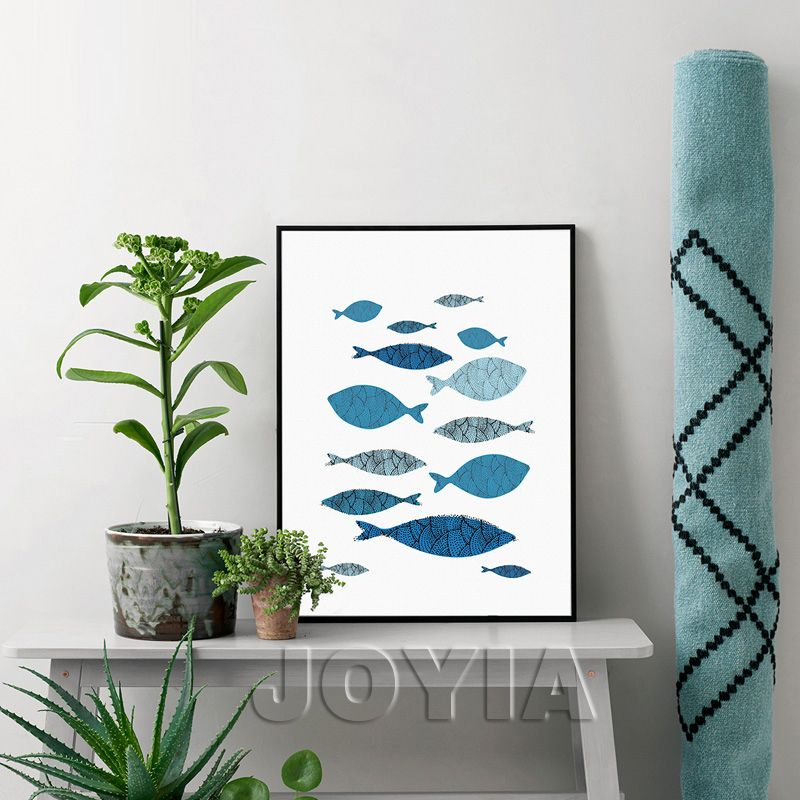 Home Decor Canvas Art Living Room Painting, Minimalist Style Abstract Blue  Fish Decorative Art Decor