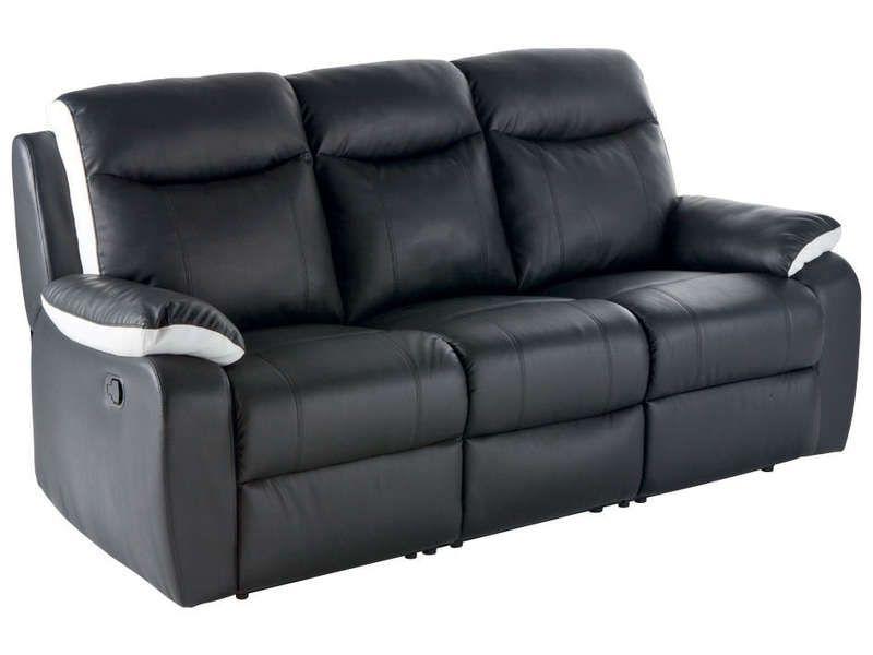 canap relaxation 3 places sophia coloris noir et blan prix promo canap conforama ttc. Black Bedroom Furniture Sets. Home Design Ideas