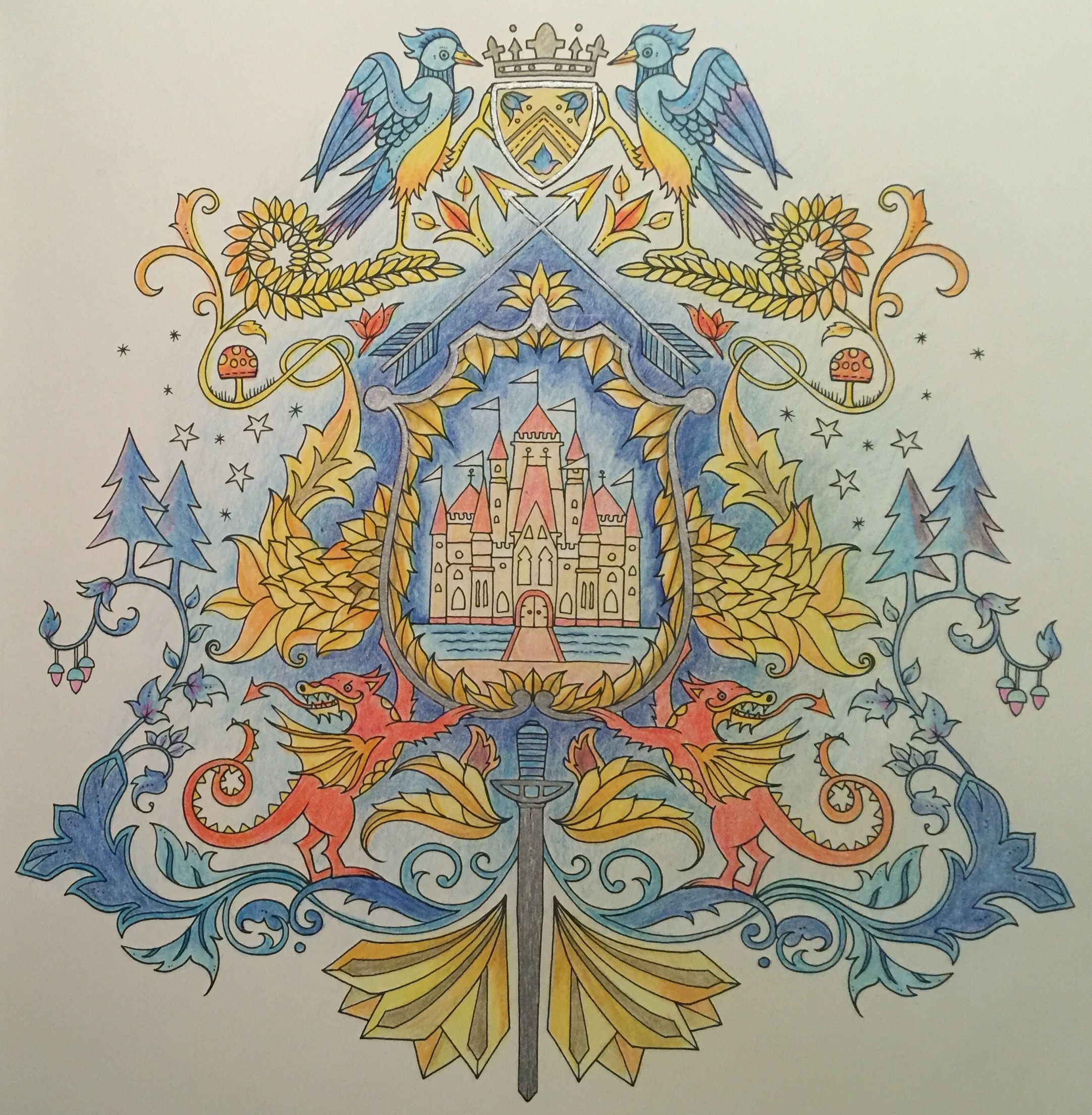 Enchanted Forest Coloring Book Coat Of Arms Colored In By Amber Using Monte Marte Pencils