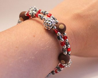 Buckeyes Memory Wire Bracelet  Red and Gray Beads