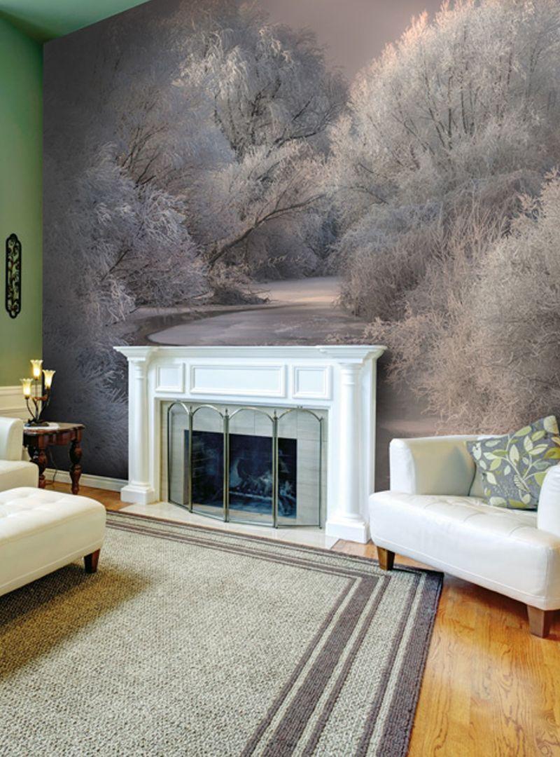 Winter Trees Wall Murals Wallsauce Uk Winter Living Room Decor Winter Living Room Landscape Wallpaper