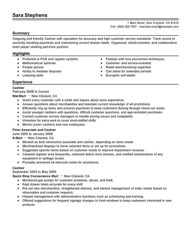 Part Time Cashiers Resume Sample  Cashier    Retail
