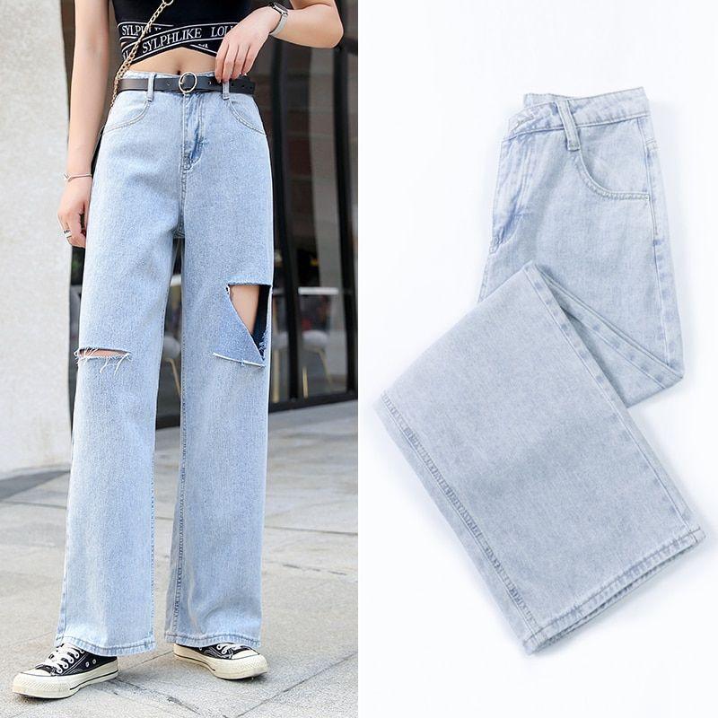 Simple fashion chic zipper jeans ladies Korean wild casual loose high waist retro wide leg Straight