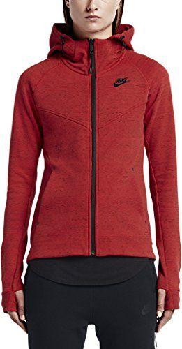 NIKE Nike Women S Tech Fleece Windrunner Red   Black Long Sleeve Zip Up  Hoodie.  nike  cloth   a205bfd87e