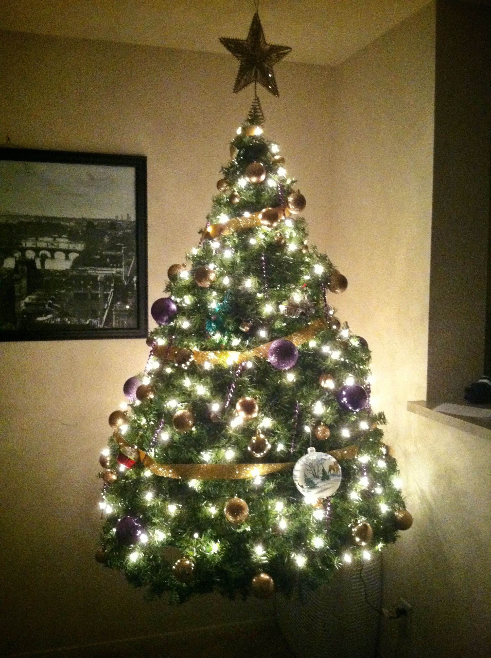 Easiest Christmas Tree To Assemble And Store Hangs From A Swag Hook In The Ceiling So It Looks Lik Simple Christmas Tree Christmas Decorations Christmas Tree