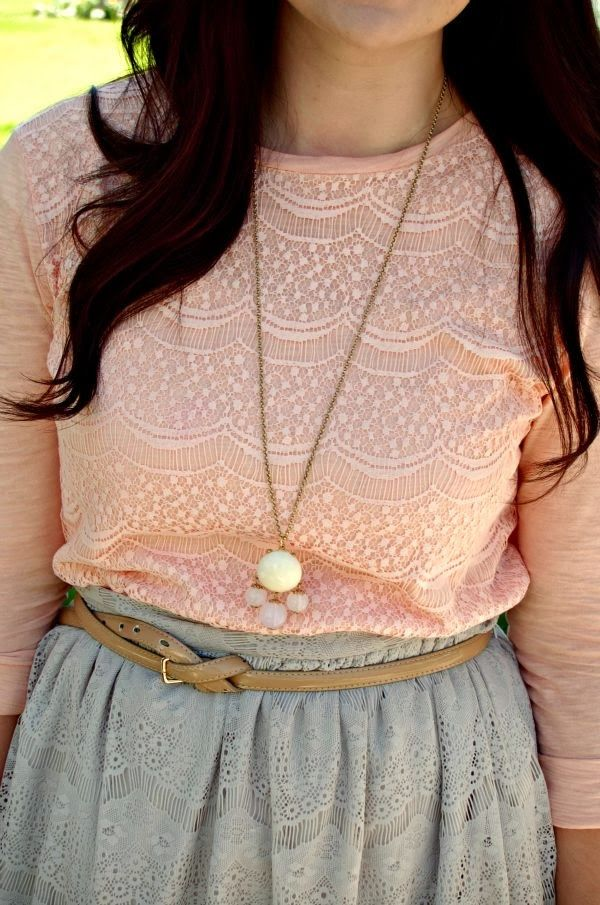 Pink Lace Shirt With Gray Lace Skirt