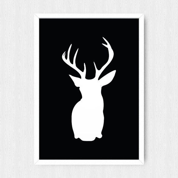 Black Deer Head Print, Wall Print, Wall Decor, Black and White ...